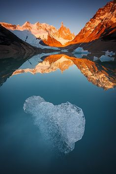 - Fire & Ice - Patagonia's Cerro Torre during a surreal calm sunrise. Amazing Photography, Landscape Photography, Travel Photography, Central America, South America, Biomes, Fire And Ice, Patterns In Nature, Natural Wonders