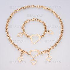 juego collar y brazalete de corazon especial en acero dorado -SSNEG014022