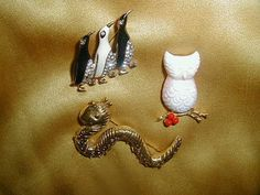 Vintage High End Signed Figural Brooch Lot MYLU Milkglass Owl Caterpillar Penguin 3-Day Sale Collection