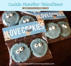 Cookie Monster Valentines with Snickerdoodle cookies