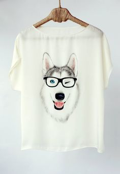 Hand Painted Art Clothing Handpainted Animal Shirt Husky Dog Tshirt Painted Silk…