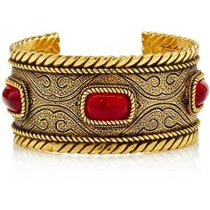 Vintage cuff with red stones