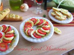 OOAK ARTIST 1:12 Italian Herb Mozzarella and Tomato With Herbs & Olive Oil by Crown Jewel Miniatures $19