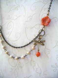 Orange Hibiscus Necklace