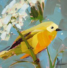 Yellow Warbler no.48 original bird oil painting by Angela Moulton prattcreekart