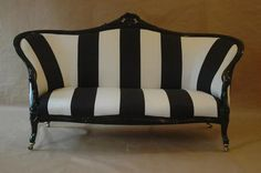 Black and white antique styled sofa