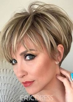 Women's Short Human Hair Wigs Short Straight Lace Front Wigs - hair cuts and colors - Cheveux Short Hairstyles For Thick Hair, Short Pixie Haircuts, Wig Hairstyles, Curly Hair Styles, Summer Haircuts, Stylish Hairstyles, Hairstyles Videos, Hairstyle Short, School Hairstyles