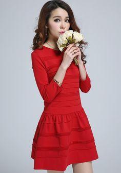 Wine Red Plain 3/4 Sleeve Dress