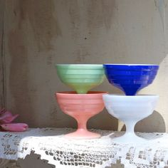 Vintage set of four custard cups , ice cream cups , milk glass , colored milk glass