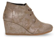 Gunmetal Metallic Synthetic Leather Women's Desert Wedges These are a regular go-to, especially with my skinny jeans. I have them in a grey suede w/ pink laces, too.