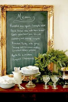 Definitely creating a chalkboard with my giant vintage gold frame.deep teal paint with grout powder to make the chalkboard. Menu On Gold Leafed Chalkboard Diy Tableau Noir, Do It Yourself Design, Framed Chalkboard, Blackboard Menu, Chalk Menu, Chalkboard Ideas, Picture Frame Chalkboard, Kitchen Blackboard, Black Chalkboard