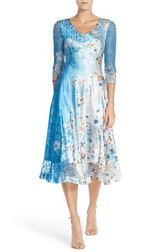 Komarov Floral Print Lace & Charmeuse A-Line Dress available at #Nordstrom