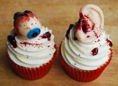 The Butcher of Caker Street sells gruesome cakes and cupcakes in the UK.  For those of you not in the area, use these for ideas.