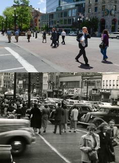 200 South Main Street looking south from the northeast corner of the intersection as seen on May 20, 2014 and also in September of 1950.