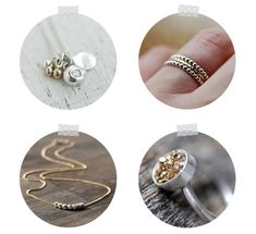 Holiday prod photos in ornament shapes. A jewelry gift guide.