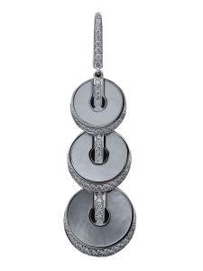 Boucles d'oreilles Montega - Elie Chatila, or blanc, diamants, nacre blanche, BOR 801.014