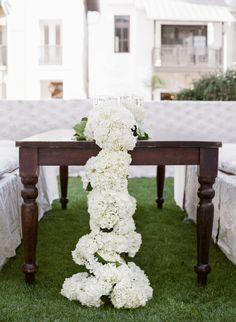 Rosemary Beach Wedding, white hydrangea floral table runner, wood tables, 30A, Events by Nouveau, wedding reception tables.