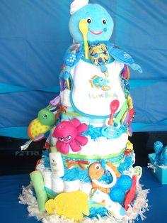 under the sea baby girl shower ideas | Under the Sea Ocean inspired diaper cake
