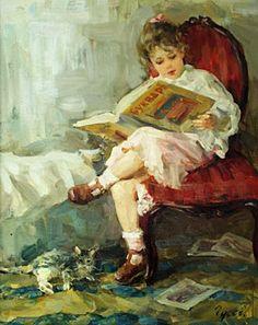 Reading, 2004 by Vladimir Gusev born 1957, Russia