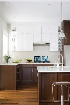 stained lower cabinets white upper cabinets - Google Search
