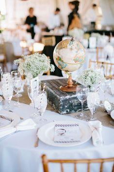 Vintage Hot Air Balloon Themed Baby Shower styled by The TomKat Studio - Globe Centerpieces