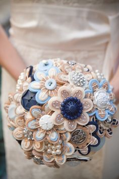 fabric and buttons?    Custom Color Bridal Button Bouquet by MissJenniferRae on Etsy, $115.00