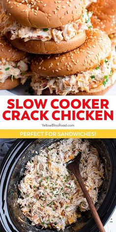 Slow Cooker Crack Chicken is a creamy combo of chicken, bacon, ranch and cheese. It's a real crowd pleaser and makes the best sandwiches! #summerrecipes #easydinner #slowcooker Crock Pot Slow Cooker, Crock Pot Cooking, Slow Cooker Recipes, Crockpot Recipes, Cooking Recipes, Crockpot Dishes, Meat Recipes, Dinner Recipes, Chicken Bacon Ranch Sandwich