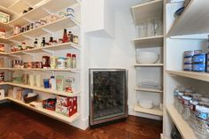 """Traditional Pantry with Maple - Cherry Solid Hardwood Strip (2.24""""/3""""/3.25""""/4""""/5""""), 24"""" Undercounter Wine Storage"""