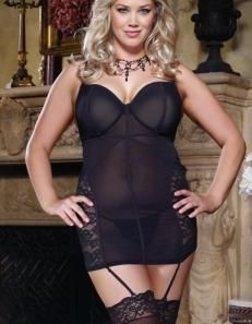 This Stretch Mesh   Lace Plus Size Garter Slip Style by Dreamgirl is both  sexy   sophisticated.There is an underwire bra with hook   eye back closure  for ... bdd361ac7