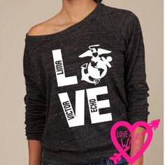 Love EGA USMC print on eco friendly slouch pullover shirt military support. $34.00, via Etsy.