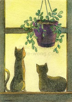 Original ACEO Watercolor Painting and Ink Drawing -- Sunrise