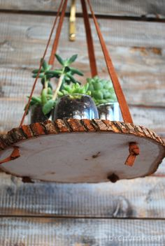 for a plant stand. Take a wood slice or wood round and use leather ...