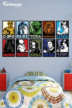 """""""My son loves his room. These Star Wars Portrait designs are awesome """" SHOP  http://www.fathead.com/star-wars/star-wars-movies/star-wars-portraits-collection-wall-decal/ 