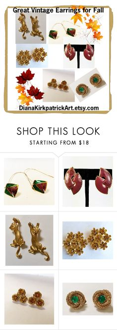"""""""Great Vintage Earrings for Fall"""" by diana-32 ❤ liked on Polyvore featuring Bastien, CORO and vintage"""