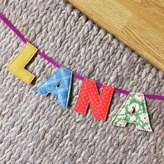 Rainbow fabrics for Lana's personalised door bunting 🌼🌎🌹🌿