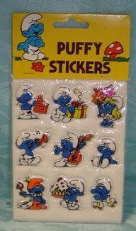 Puffy Stickers  <3 SMURFS - MEMORIES - 80's