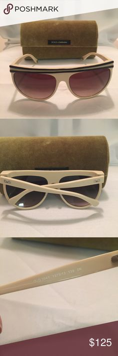 New D&G Authentic sunglasses Beige New authentic sunglasses made by D&G  (Dolce and Gabbana). Sunglasses are a beige frame color. Flat top style very cool and edgy. Case included with purchase. Style is D&G 3041. Lenses brown. Price firm ✅ D&G Accessories Sunglasses