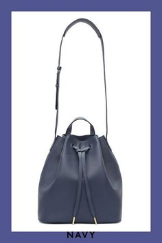 This navy bucket bag is perfectly versatile, reasonably sized, and SO on-trend