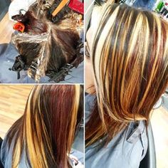 blonde, red and brown pinwheel technique - Google Search