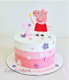 Rush Order Peppa Pig fondant cake set by CuteFondant on Etsy
