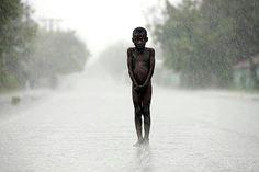 Rain child Haiti.