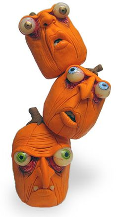 Polymer pumpkin heads and books   Polymer Clay Daily
