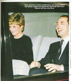 March 08, 1993: Princess Diana and Prince Edward... Commonwealth Reception, Marlborough. Princess Diana in a little black fitted dress with a shiny cumberband waist, pearls, pearl drop earrings..