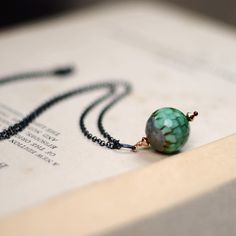 Cedar Necklace with green agate, oxidized silver and rolled gold