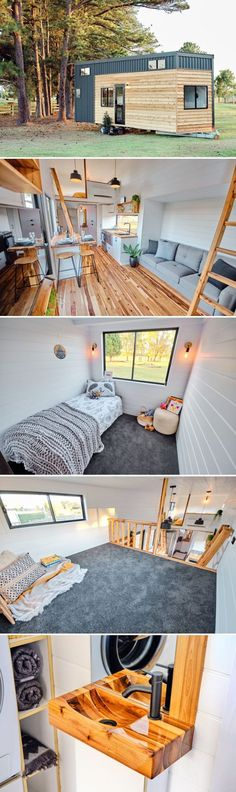 With its three bedrooms, the Grand Sojourner by Häuslein Tiny House Co is an excellent option for a family looking to downsize. There is a main floor bedroom and two bedroom lofts. design Tiny Grand Sojourner by Häuslein Tiny House Co - Tiny Living Tyni House, Tiny House Cabin, Tiny House Living, Tiny House Plans, Tiny House Design, Home Living Room, Loft House, House Built, Container Home Designs