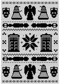 Ravelry: Doctor Who Fair Isle pattern by Amy Schilling.  Maybe I could use this as a blackwork pattern in my next smock.