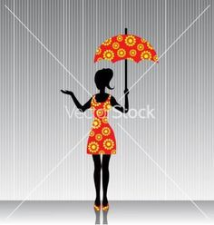 Woman with an umbrella in a bright dress vector 1742677 - by SuslO on VectorStock®