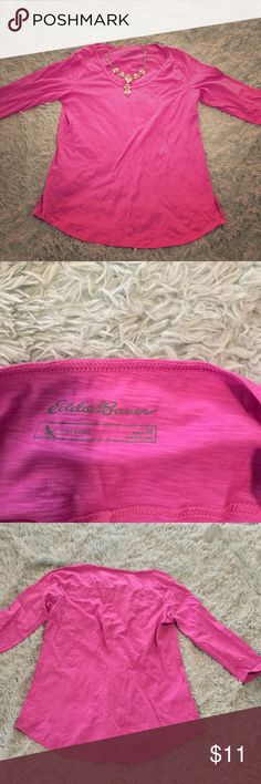 ⚡️Eddie Bauer⚡️NWOT 3/4 Sleeves Orchid Top This was ordered online. No tags. Brand new never worn. Necklace NOT included.   PRICE FIRM. 10% off bundles of 4 or more. No trades, sorry!  Smoke free home, but have two furbabies. (dogs). Eddie Bauer Tops Tees - Short Sleeve