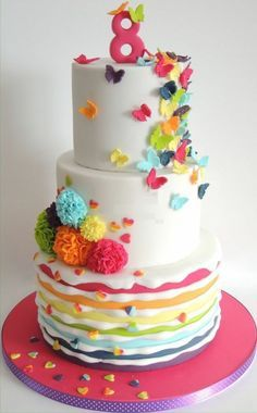 Easy birthday cake recipe for little girl luxury deco birthday cake for 10 year old girl Easy Birthday Cake Recipes, Homemade Birthday Cakes, Beautiful Cakes, Amazing Cakes, Dipper Cakes, Butterfly Cakes, Fondant Decorations, Homemade Butter, Love Cake