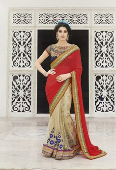 Maroon With Cream Georgette & Net Sarees Online ,Veeshack.com | Fashion for the World - 1